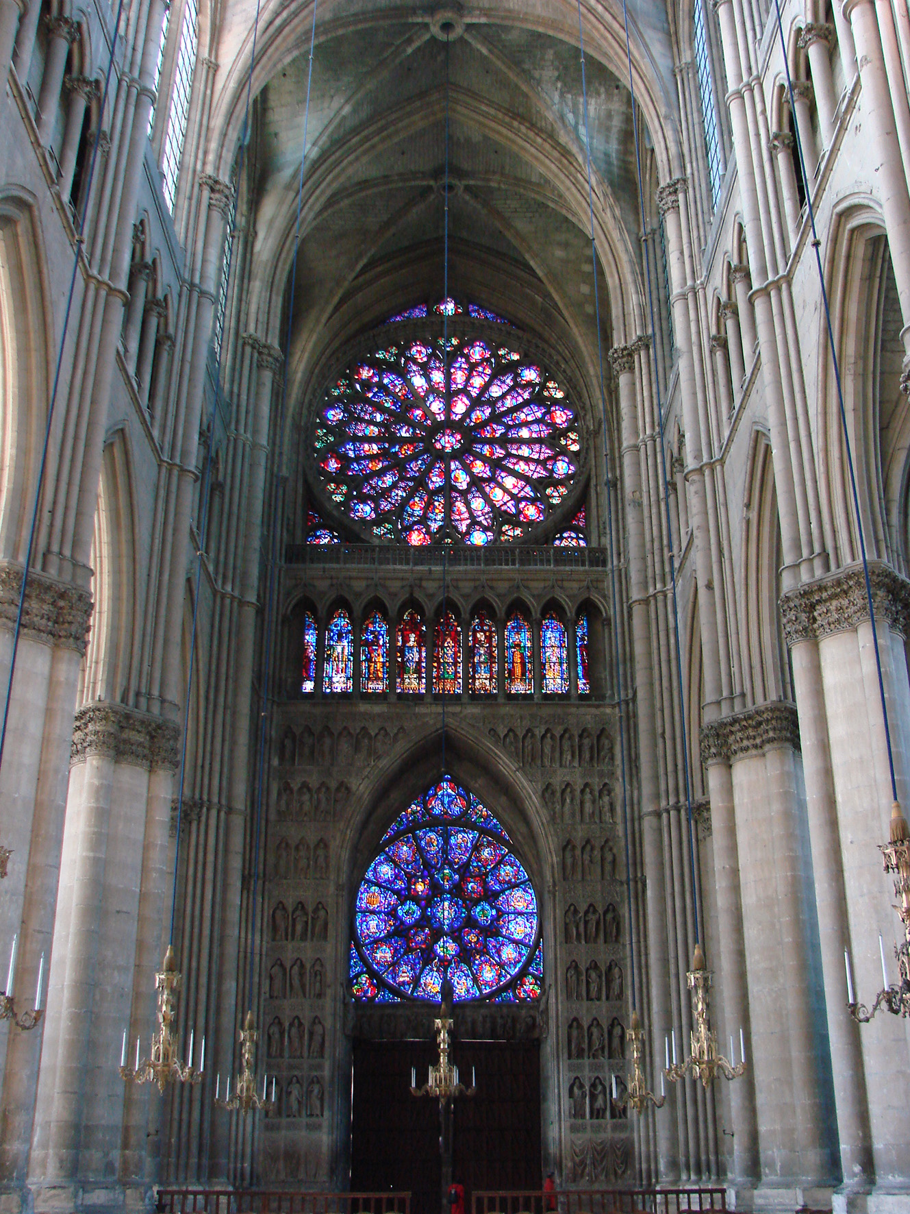 English Nave Of Reims Gothic Cathedral Looking West The Upper Rose Window Is