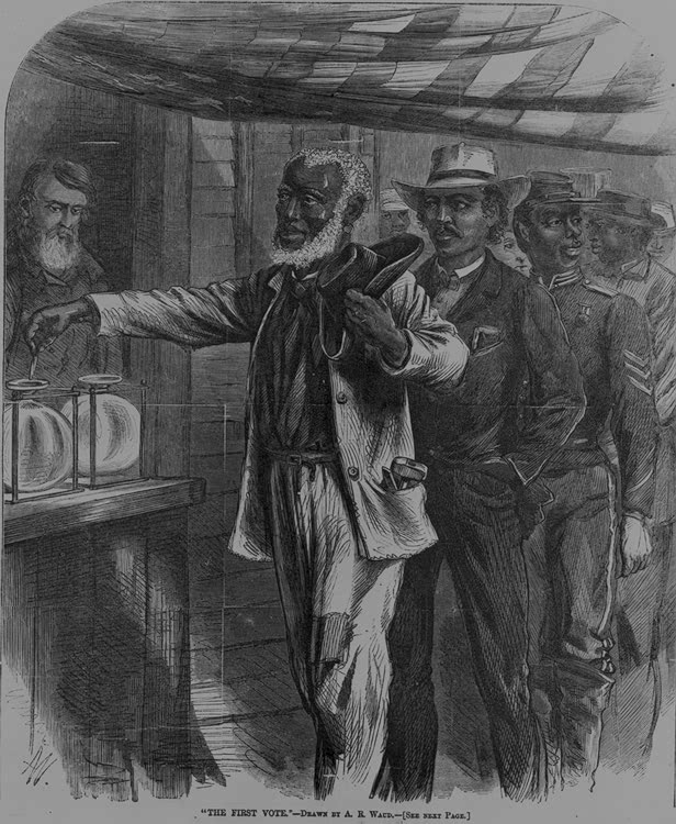 the evolution of the franchise voting through the years this  1867 drawing depicting the first vote by african americans
