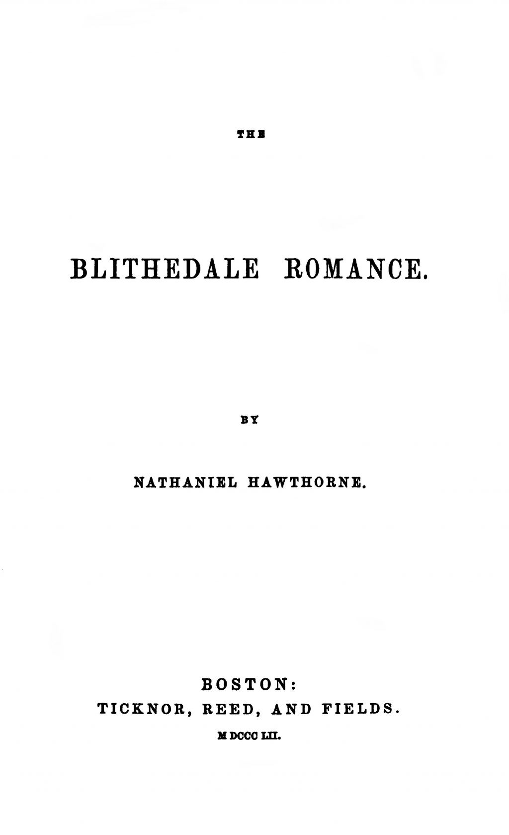 The blithedale romance essays
