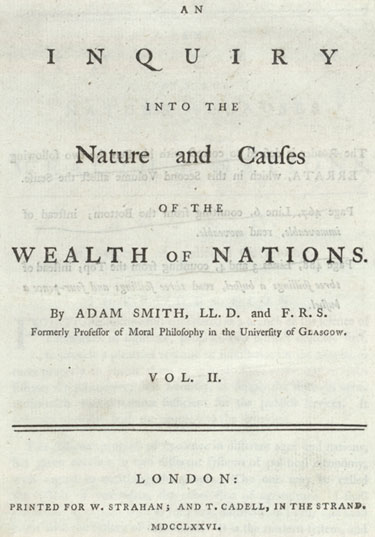 An analysis of adam smith opened the wealth of nations with observation