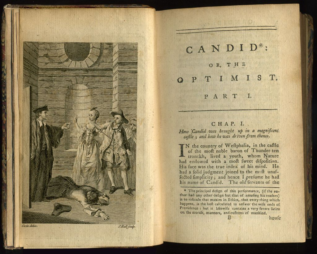 religious satire in voltaire s candide writework english frontispiece and first page of chapter one of an early english translation by t