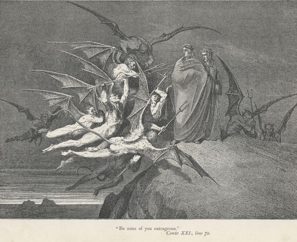 Malacoda And His Squadron Of Malebranche Threaten Virgil Dante In The Fifth Bolgia