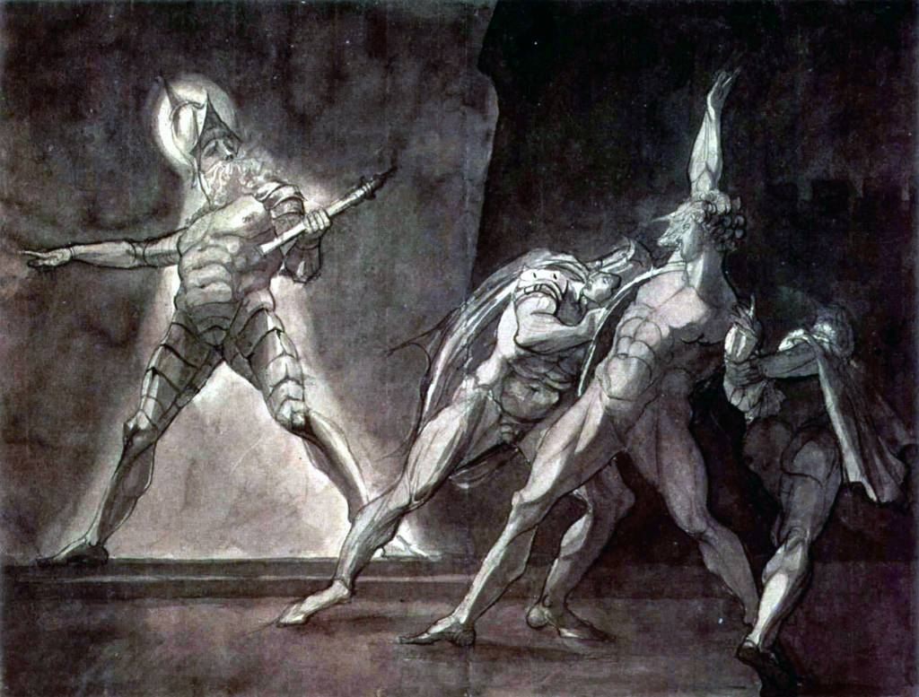 revenge his foul and most unnatural murder hamlet seeks for the english henry fuseli hamlet and his father s ghost 1780 1785 ink