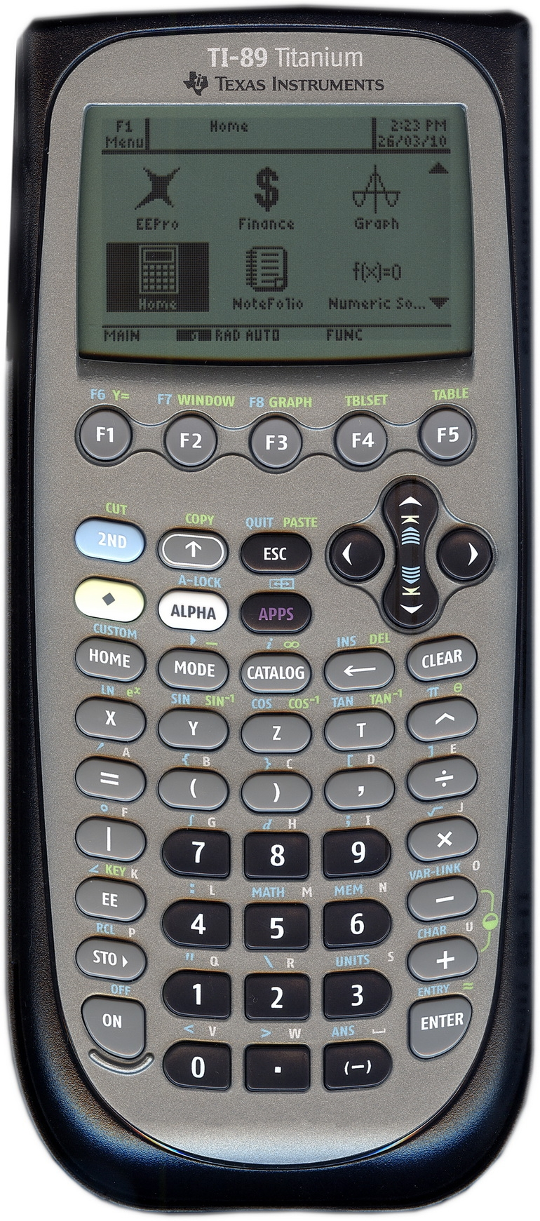 Texas instruments ti-89 titanium graphing calculator.
