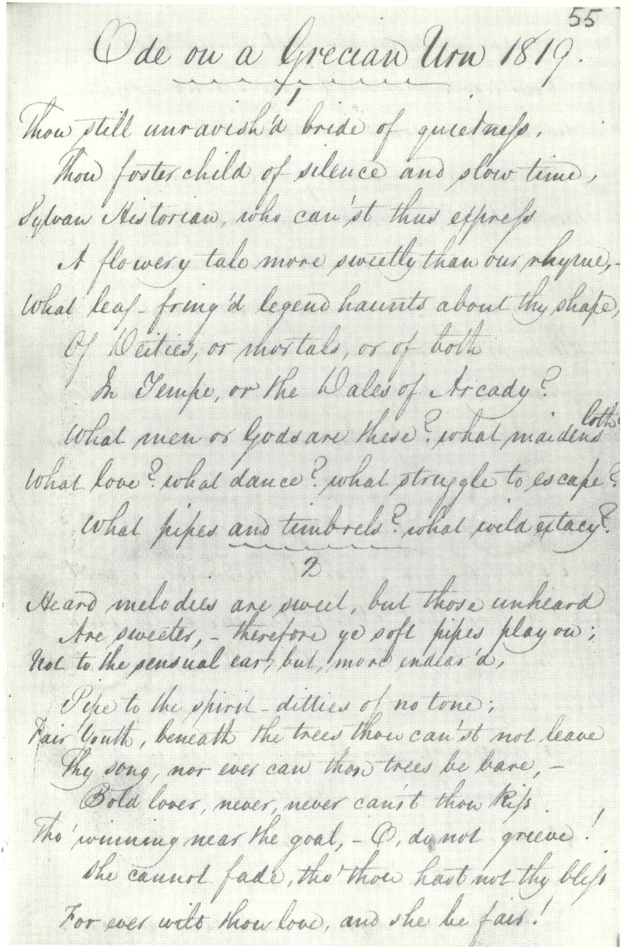 transience and permanence in the odes by john keats  english first surviving draft of ode on a grecian urn