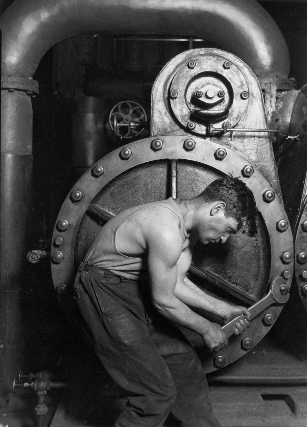 speech transcript on comparative study of texts pyg on by lewis hine power house mechanic working on steam pump 1920