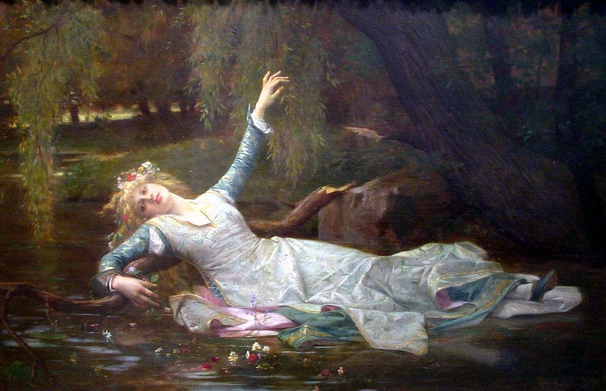hamlet sees gertrude give way to claudius and ophelia gives ophelia by alexandre cabanel