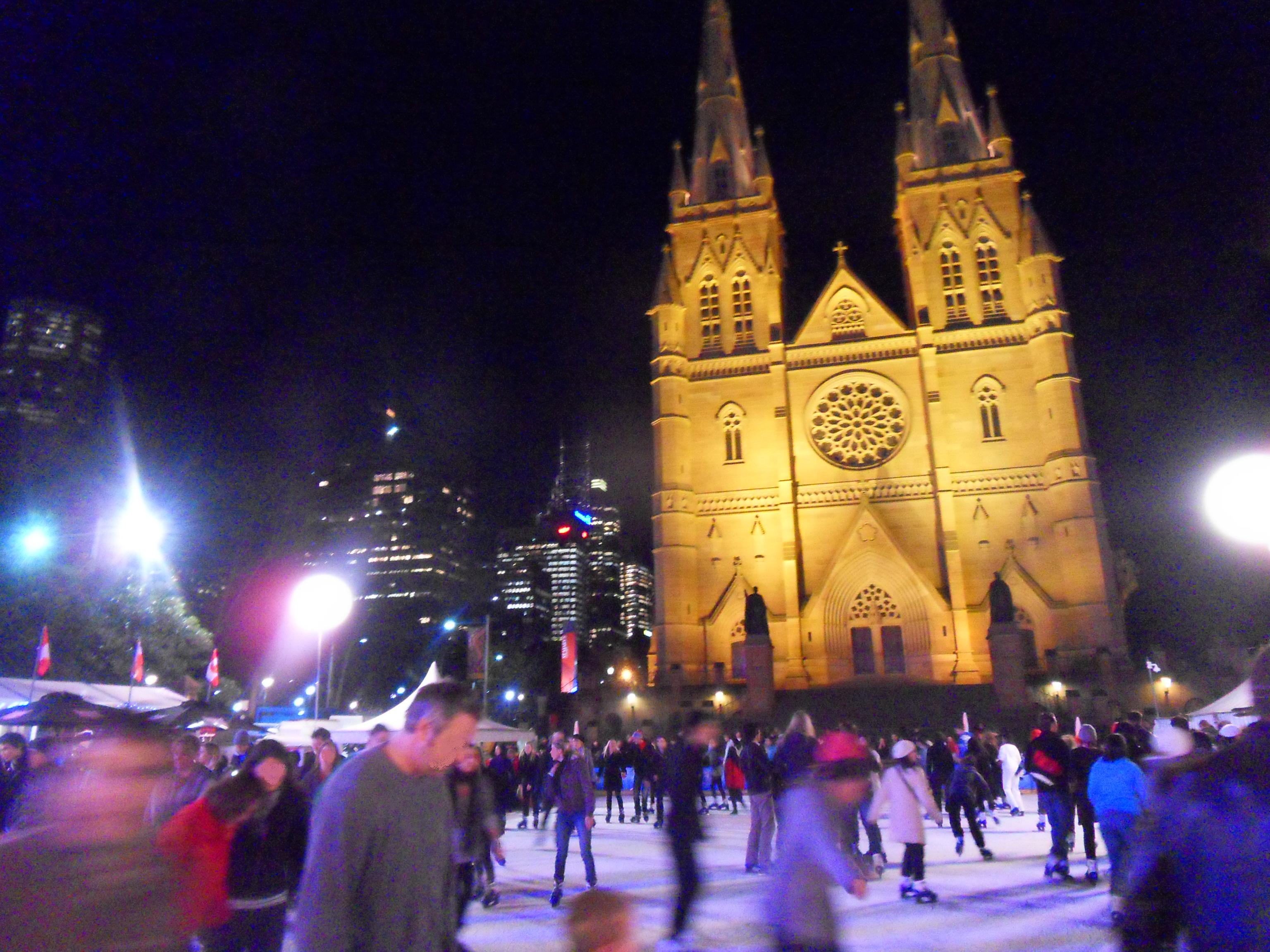practice writework english public outdoor ice skating outside st mary s cathedral in sydney