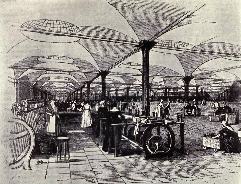industrial revolution essay in st person point of view speaking  english drawing of marshall s mills holbeck showing operators at their machines from the