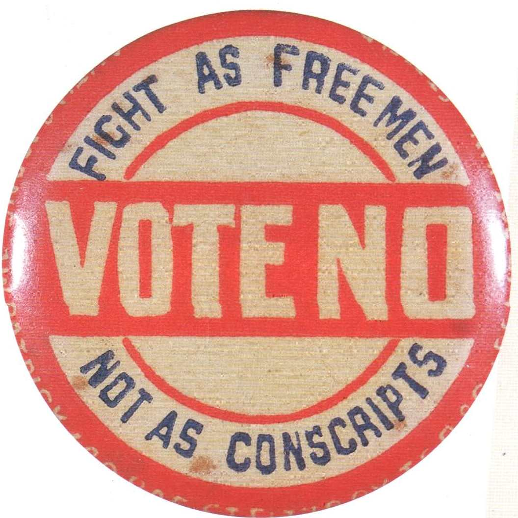 conscription in ww writework english an n anti conscription badge from wwi