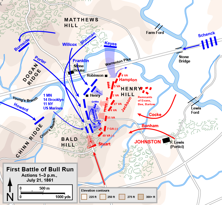 english map of first battle of bull run 2pm july 21 1861