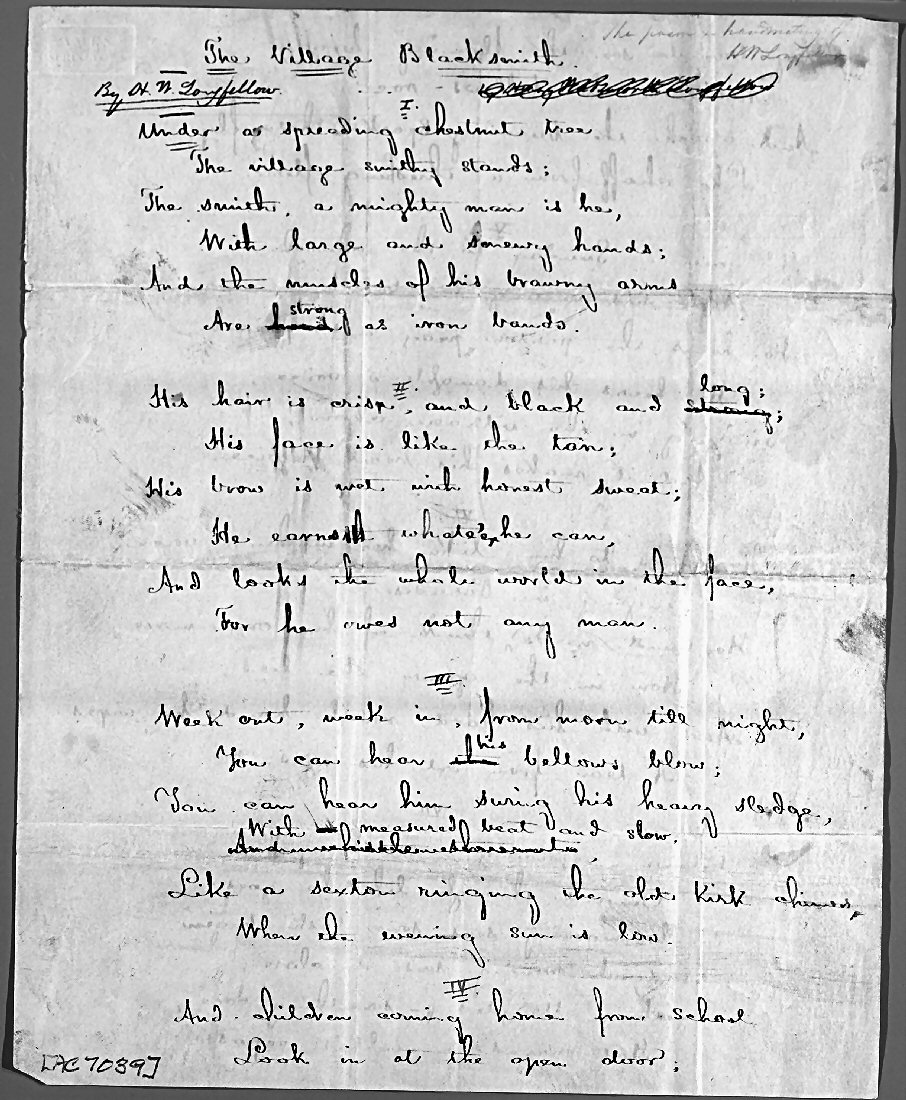 an analysis of emotions and sorrows in the village blacksmith by henry wadsworth longfellow Read the summary and analysis of the village blacksmith poem by h w  i am a  huge fan of henry wadsworth longfellow outside the ambit of the  the  blacksmith is hardened but he owns a soft heart which has emotions.