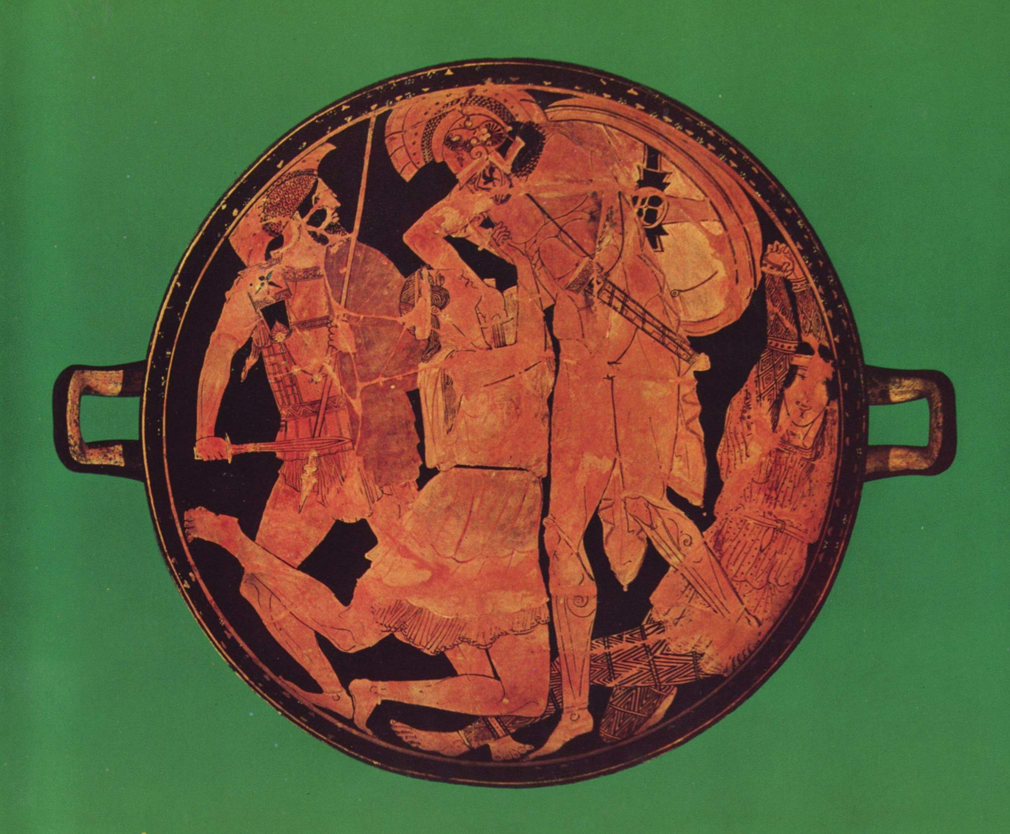 Greek wase painting writework achilles killing penthesilea tondo of an attic red figure kylix 470460 floridaeventfo Image collections