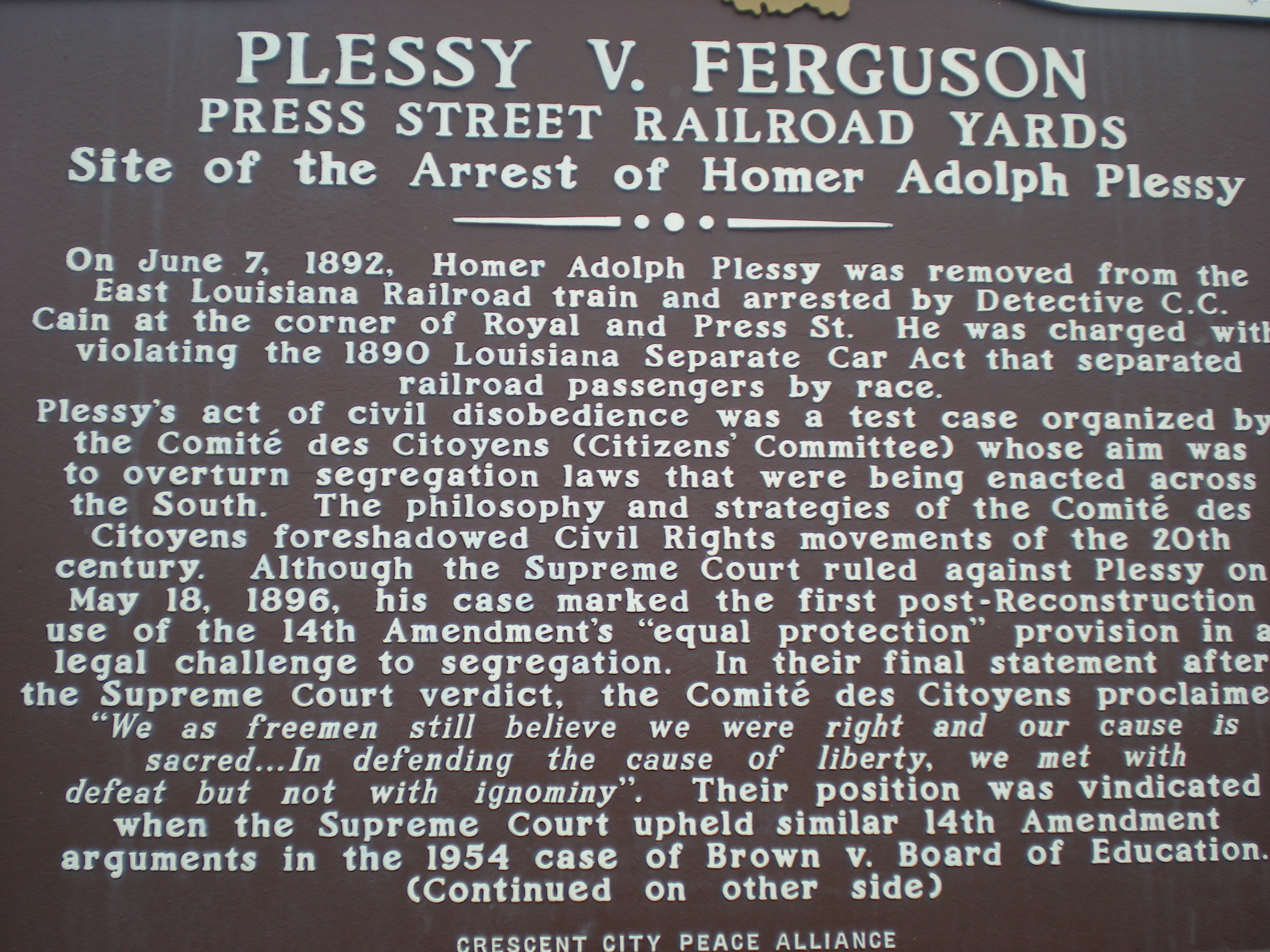 plessy v ferguson case essay On may 18, 1896, the us supreme court case plessy v ferguson  plessy v  ferguson decision upheld the principle of racial segregation over the next half- century  constitution of the united states of america: analysis and  interpretation.