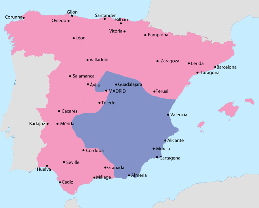 essay was the spanish civil war a preamble to wwii writework english map showing spain in 1939 area under nationalist control area under republican