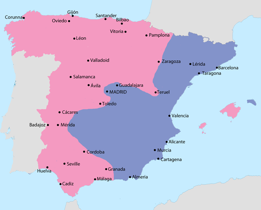 Creative Writing Company English Map Showing Spain In October  Area Under Nationalist Control  Area Under Republican Thesis For A Narrative Essay also Compare And Contrast Essay Examples For High School To What Extent Did The Spanish Civil War Represent A Microcosm Of  Narrative Essay Thesis