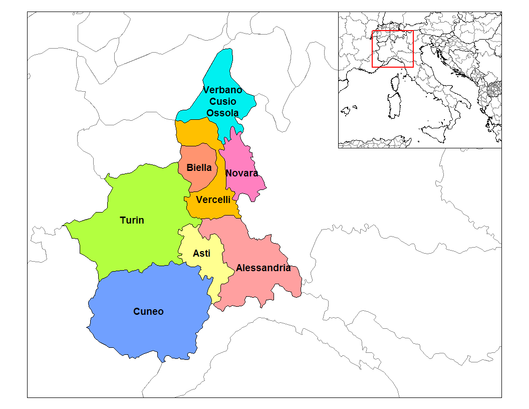 The economic geography of the Italian region Piedmont Piemonte
