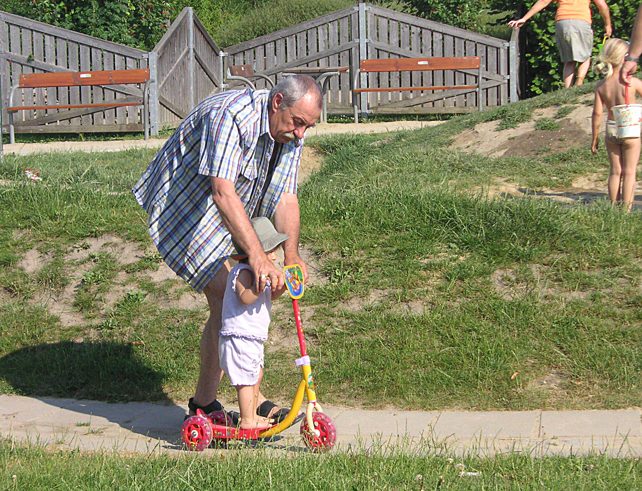 overcoming fear had to write a narrative essay about a personal  english a grandfather teaching his little granddaughter how to ride a kick scooter simmering
