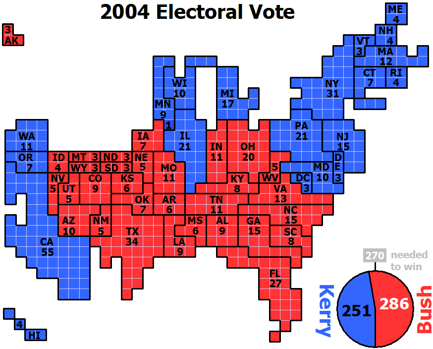 English Cartogram Of 2004 Electoral Vote For Us President With Each Square Representing One