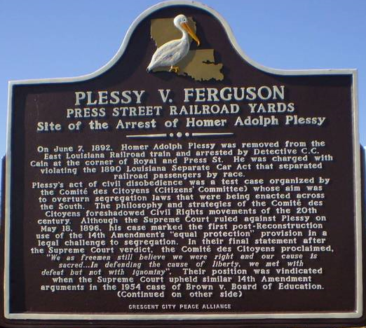 Discursive Essay Introduction English Photo Of The Front Of Plessy V Ferguson Marker In New Orleans Drugs In Sports Essay also Jekyll And Hyde Essay About The Plessy Vs Ferguson Case Where The Th And Th  Definition Of Essays