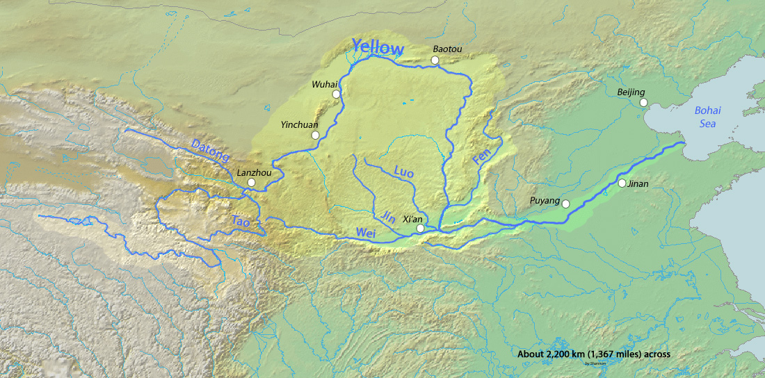 The Yellow River WriteWork - Huang river world map