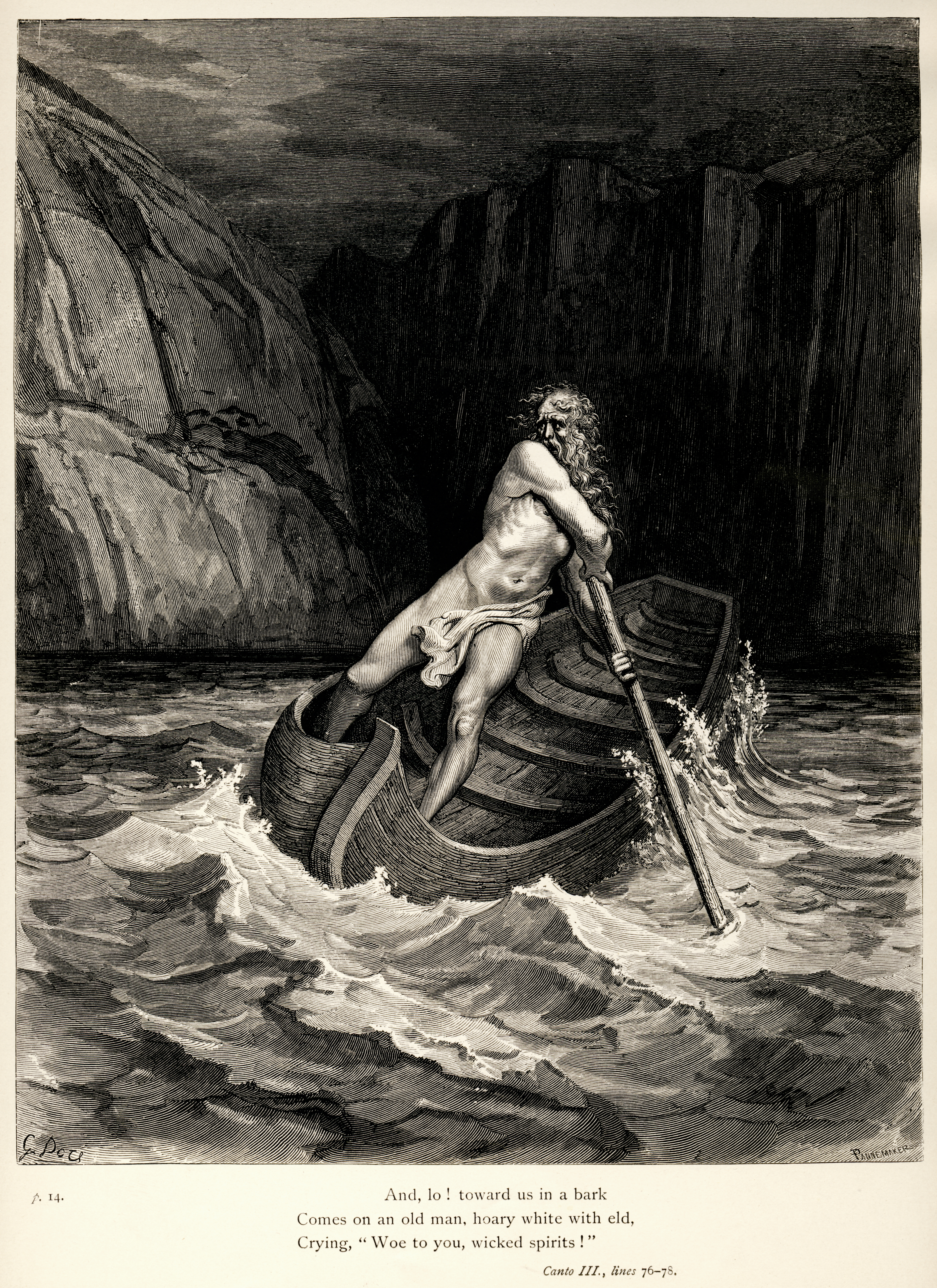 Gustave Dores Illustration To Dantes Inferno Plate IX Canto III Arrival Of Charon