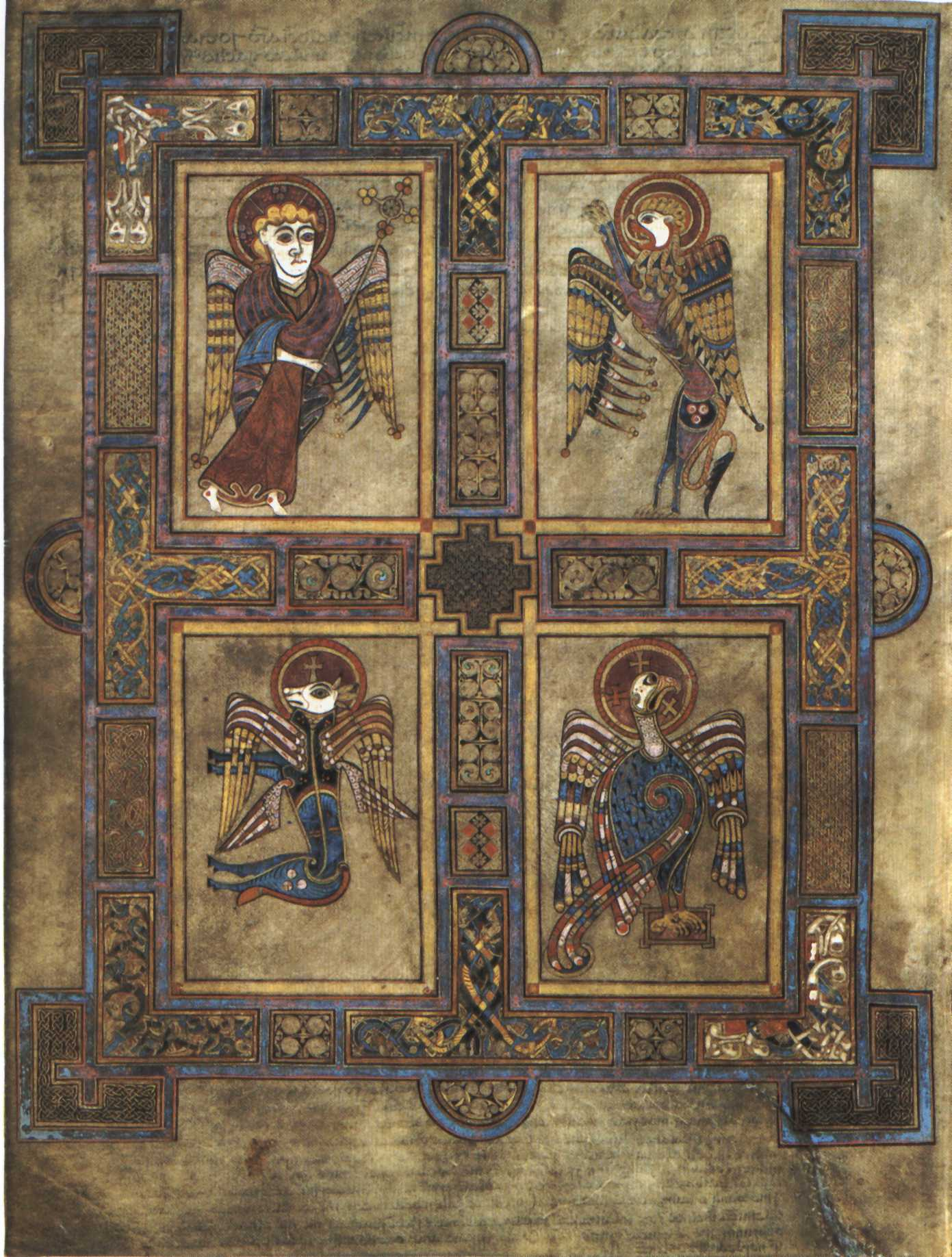 Research the four symbols that are traditional for the four english image of folio 27v with the four evangelist symbols from the book of biocorpaavc