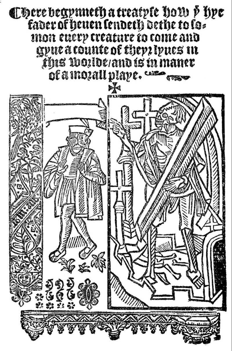 analysis of everyman as a medieval morality play and an allegory  the first page of a medieval print version of the morality play everyman ca