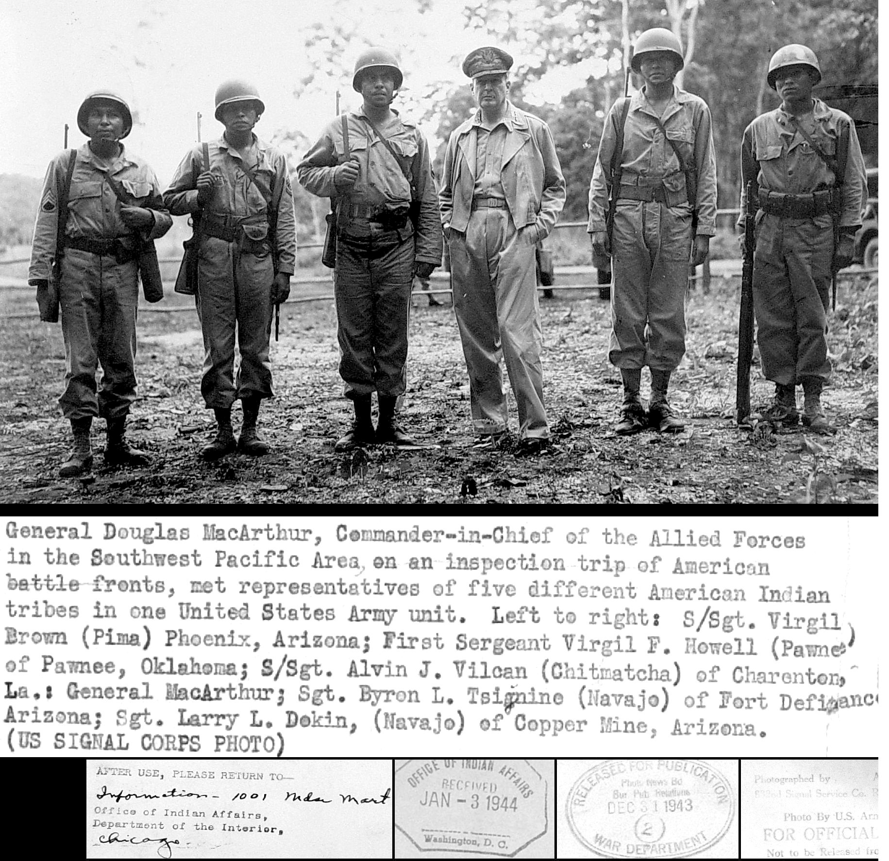 this is a reseach paper on native american contributions to world  general douglas macarthur meeting navajo pima pawnee and other native american troops