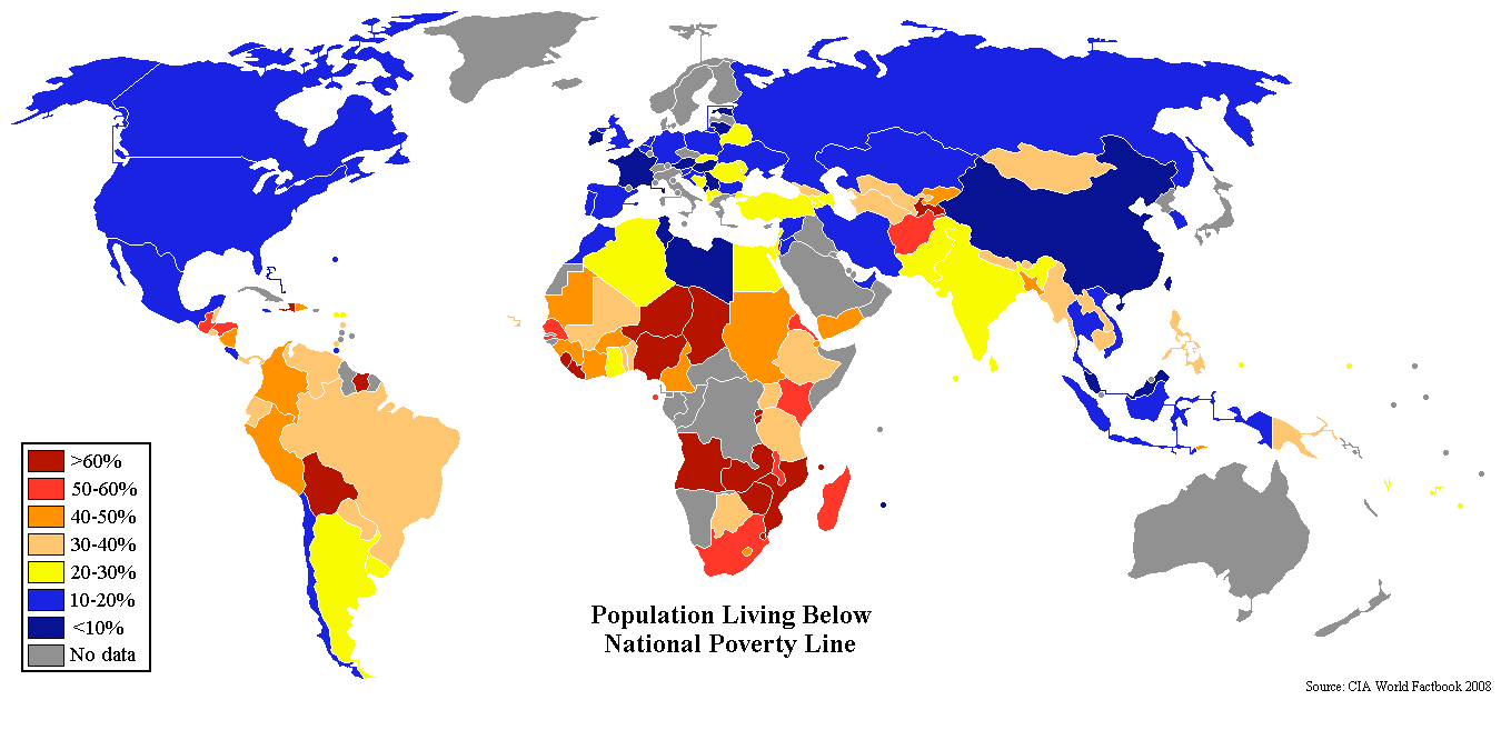 world map showing percent of population living below their national poverty line grey means no