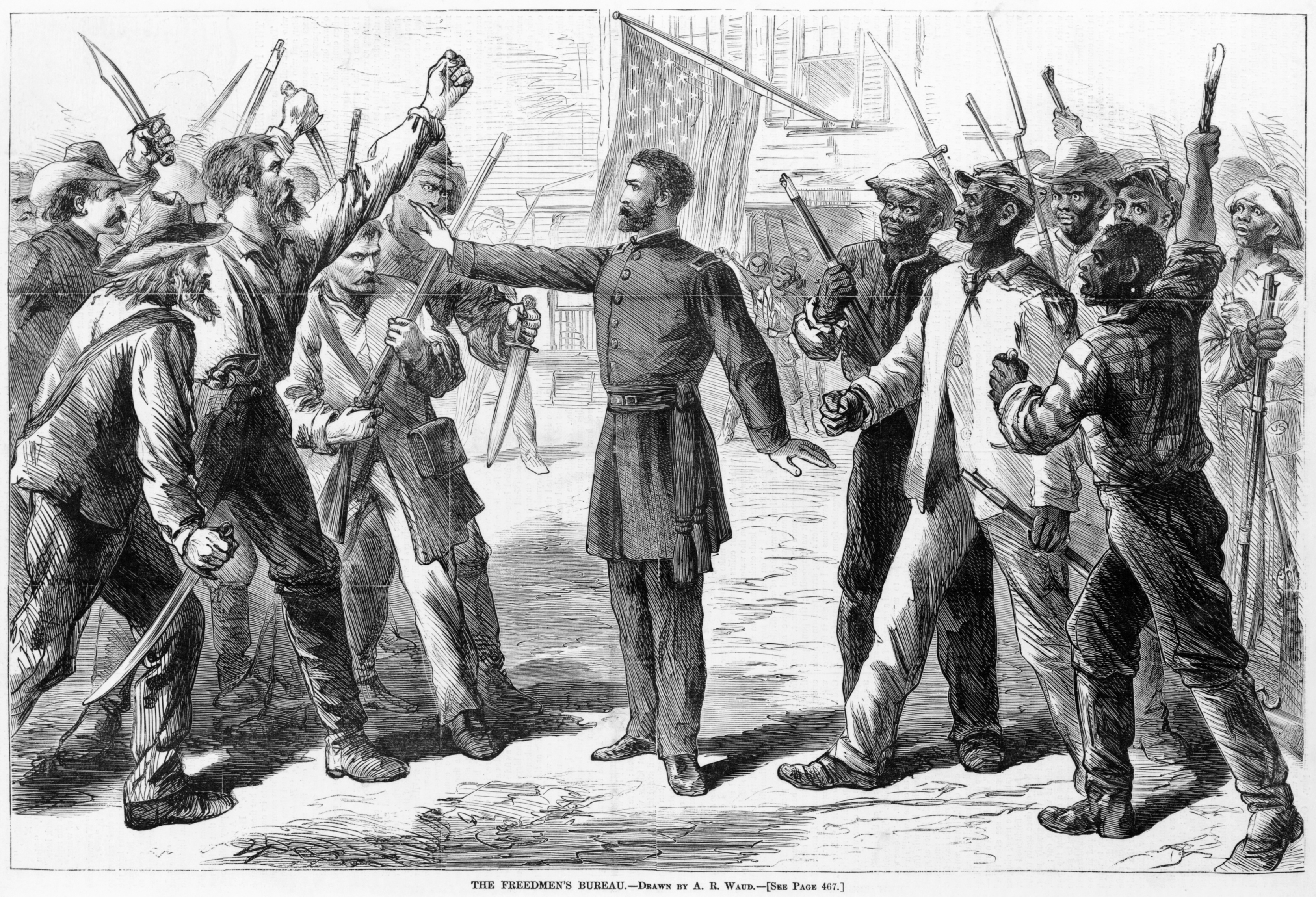 was reconstruction a success or failure for the nation as a whole a bureau agent stands between armed groups of southern whites and dmen in this 1868 picture