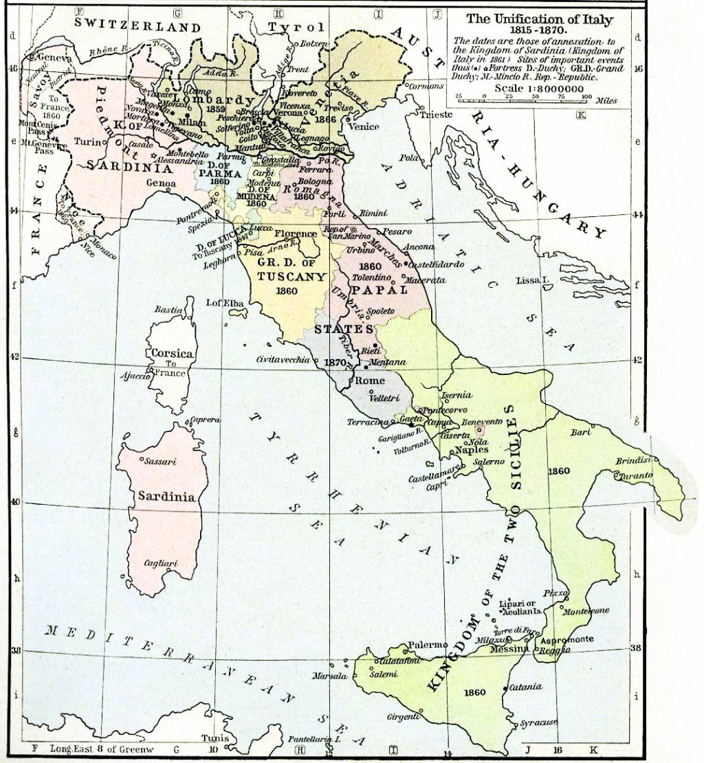english map of unification of italy 1815 70