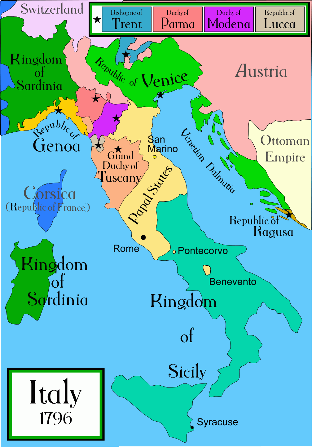 Analyse the aims motives and policies of cavour between 1852 and a political map of italy in early 1796 before the napoleonic wars created by gumiabroncs Choice Image