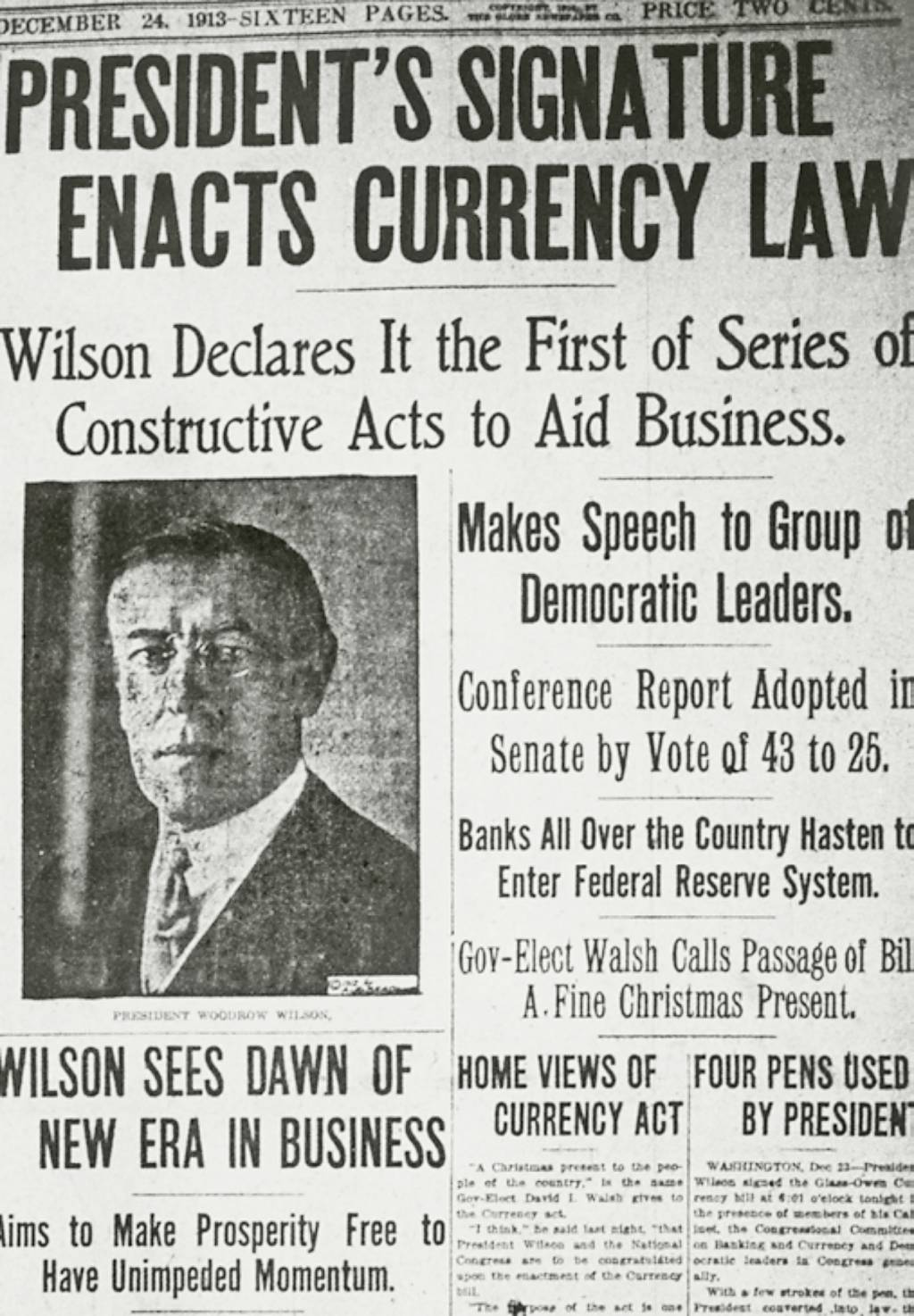 federal reserve essay writework description newspaper clipping usa woodrow wilson signs creation of the federal reserve source