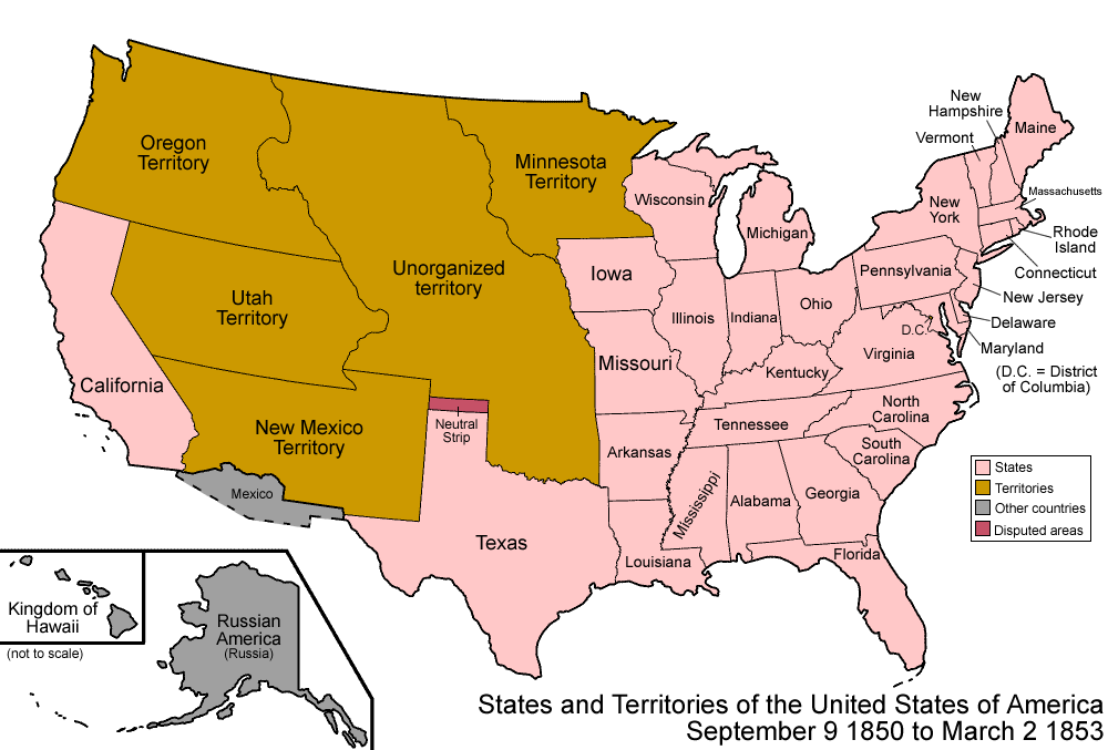 An Enlargeable Map Of The United States After The Compromise Of 1850