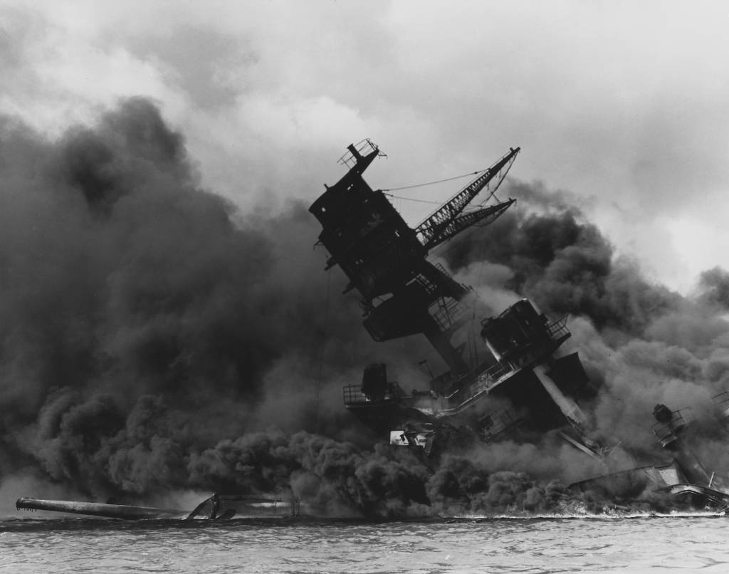 rhetorical analysis franklin delano roosevelt pearl harbor the uss arizona bb 39 burning after the ese attack on pearl harbor