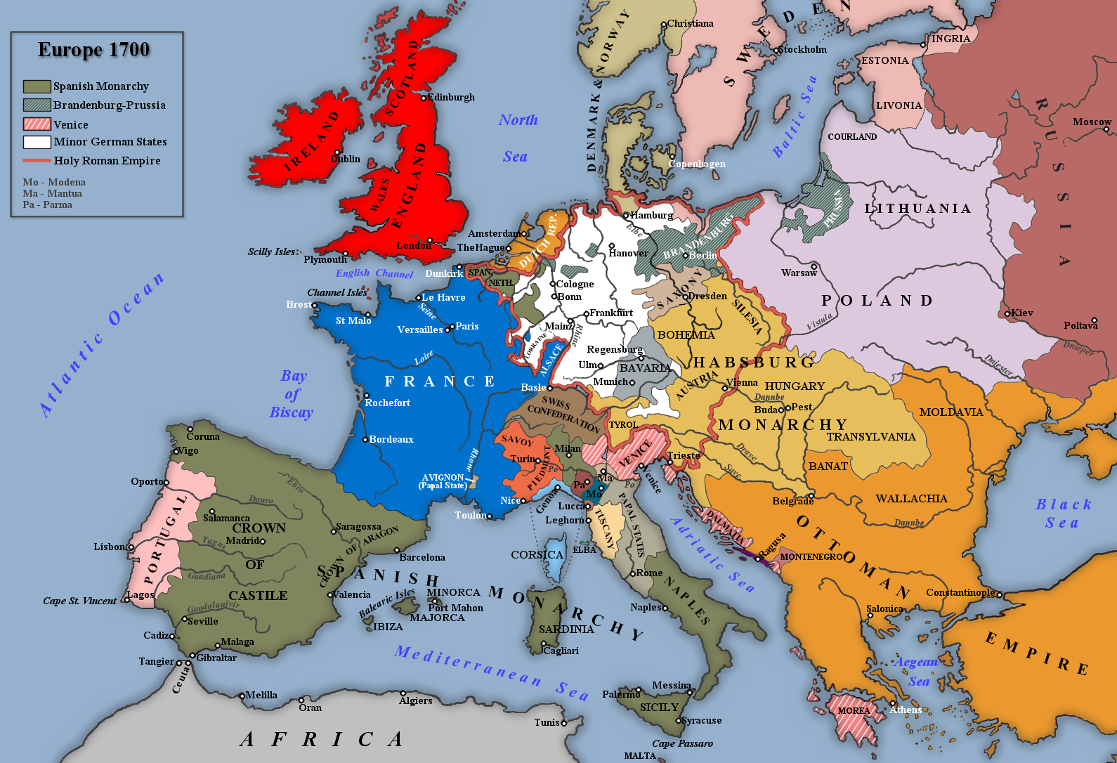 was louis xiv merely concerned la gloire in his foreign english map of europe 1700 based an image in g m trevelyan s england under queen