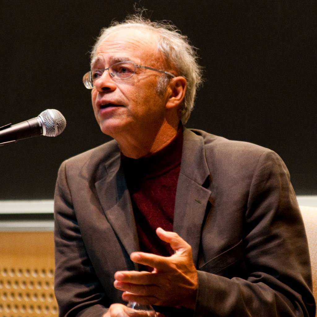 an essay on peter singer the author of famine affluence and english peter singer speaking at a veritas forum event on mit s campus on saturday