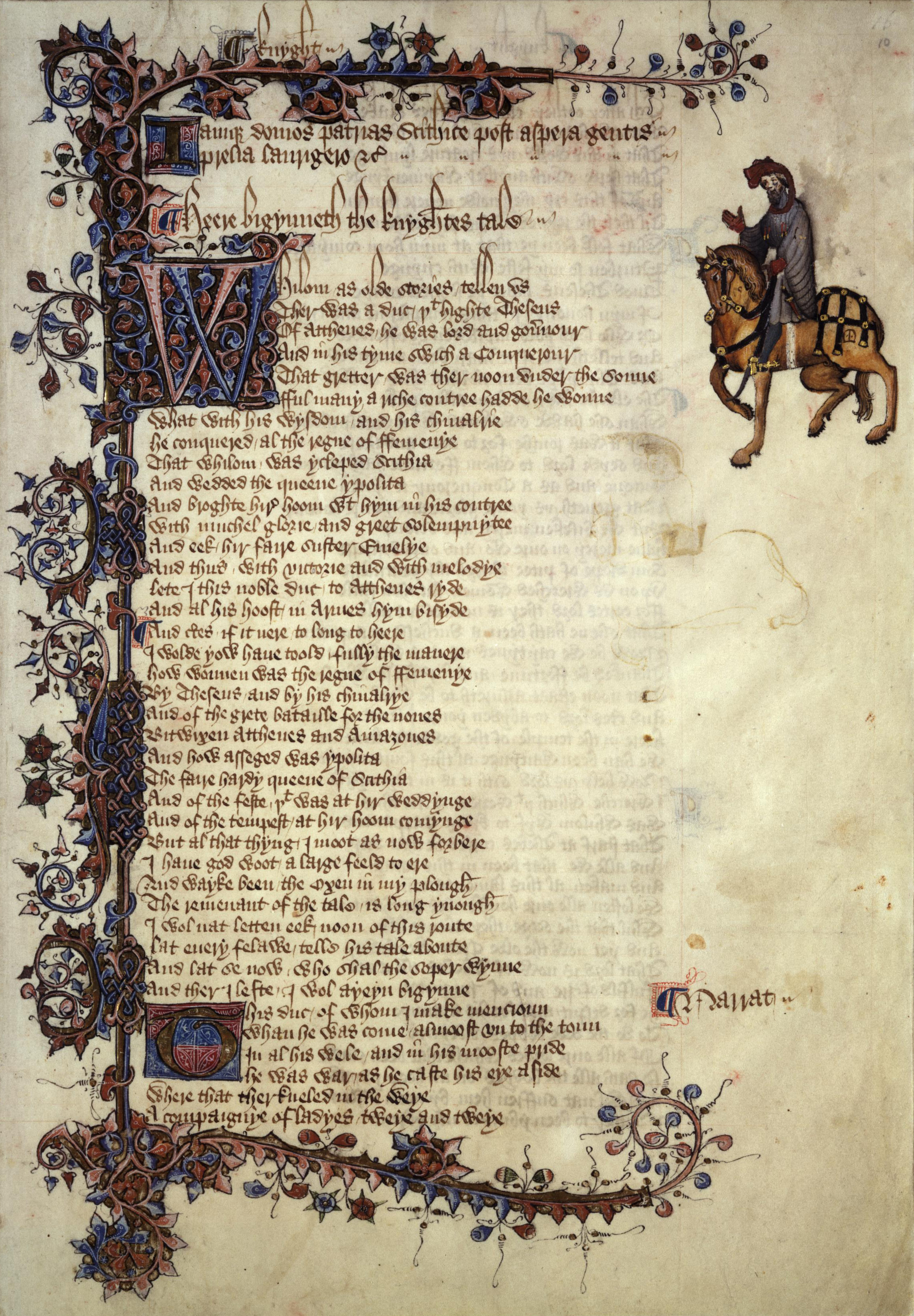 compare and contrast the canterbury tales writework english scan of ellesmere manuscript of canterbury tales the first page of knight s tale