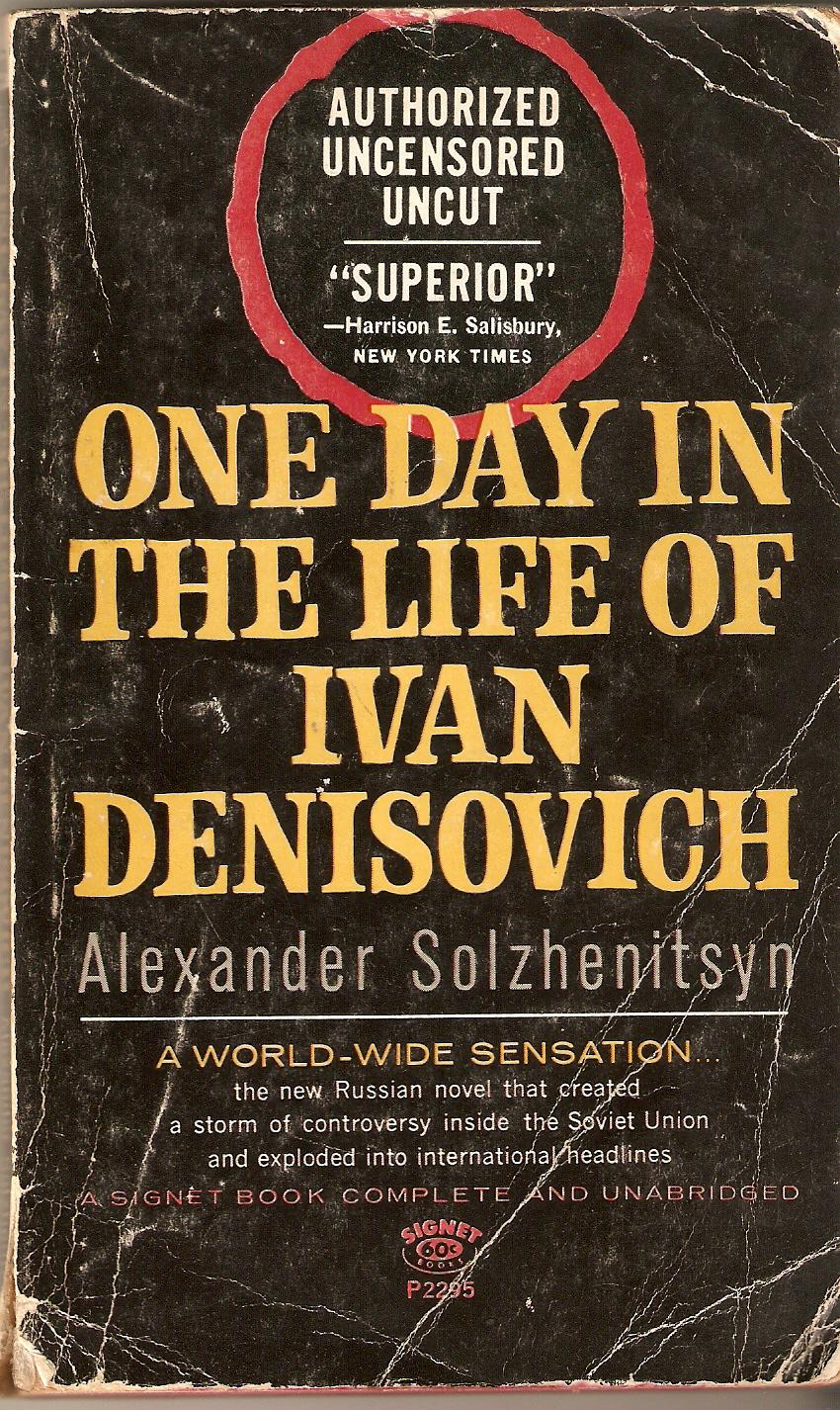 a comparison between the myth of sisyphus by albert camus and english u s paperback cover of one day in the life of ivan denisovich by aleksandr