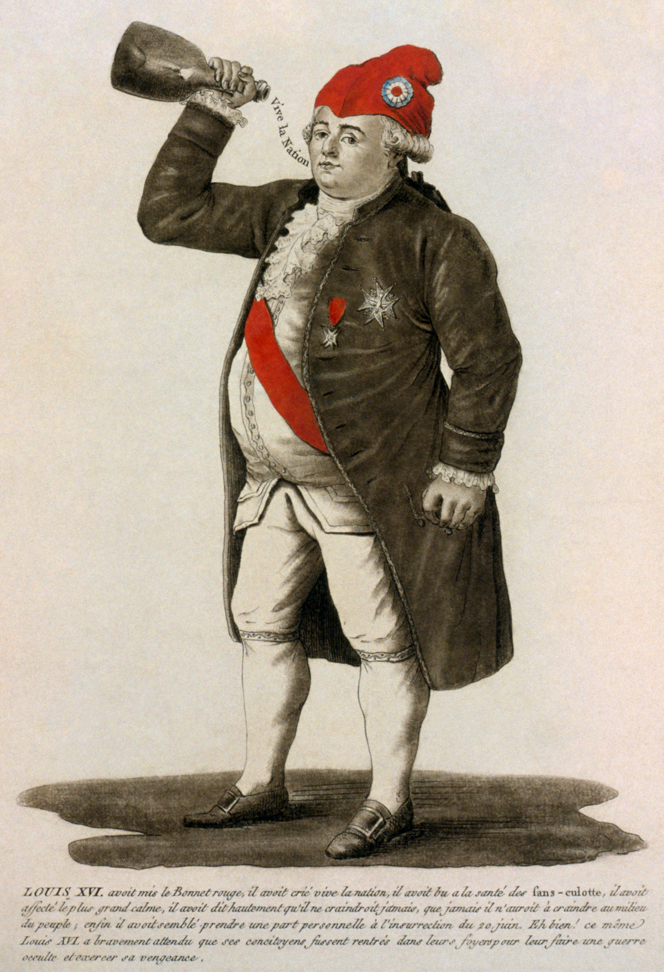 the french revolution to what extent was louis xvi responsible tinted etching of louis xvi of 1792 a phrygian cap