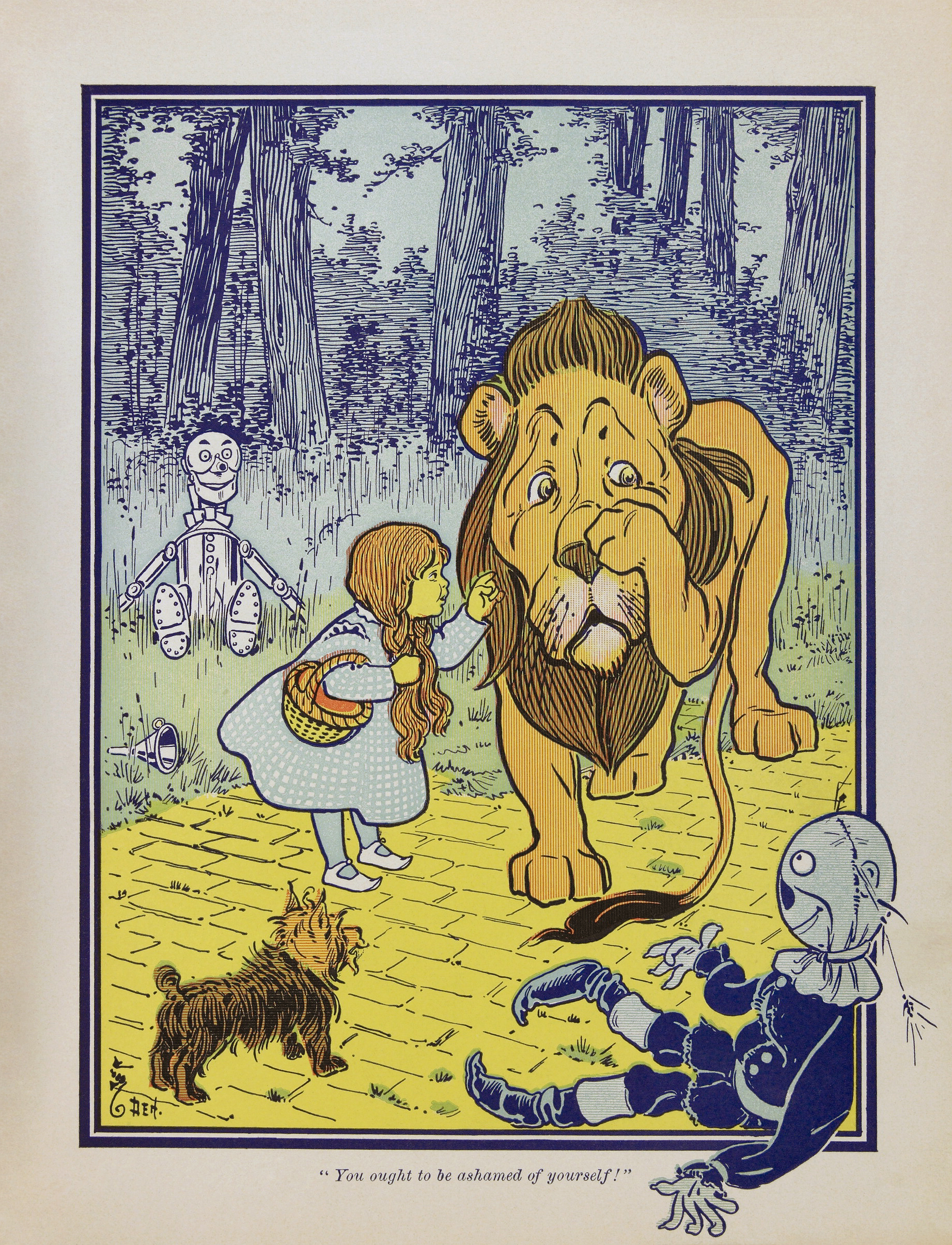 the wonderful wizard of oz l frank baum the essay contains a  dorothy meets the cowardly lion from the wonderful wizard of oz first edition