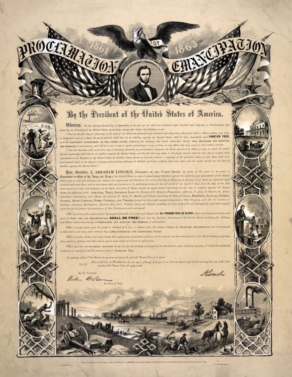 abraham lincoln s views on slavery from the years of 1861 1865 photograph of a reproduction of the emancipation proclamation