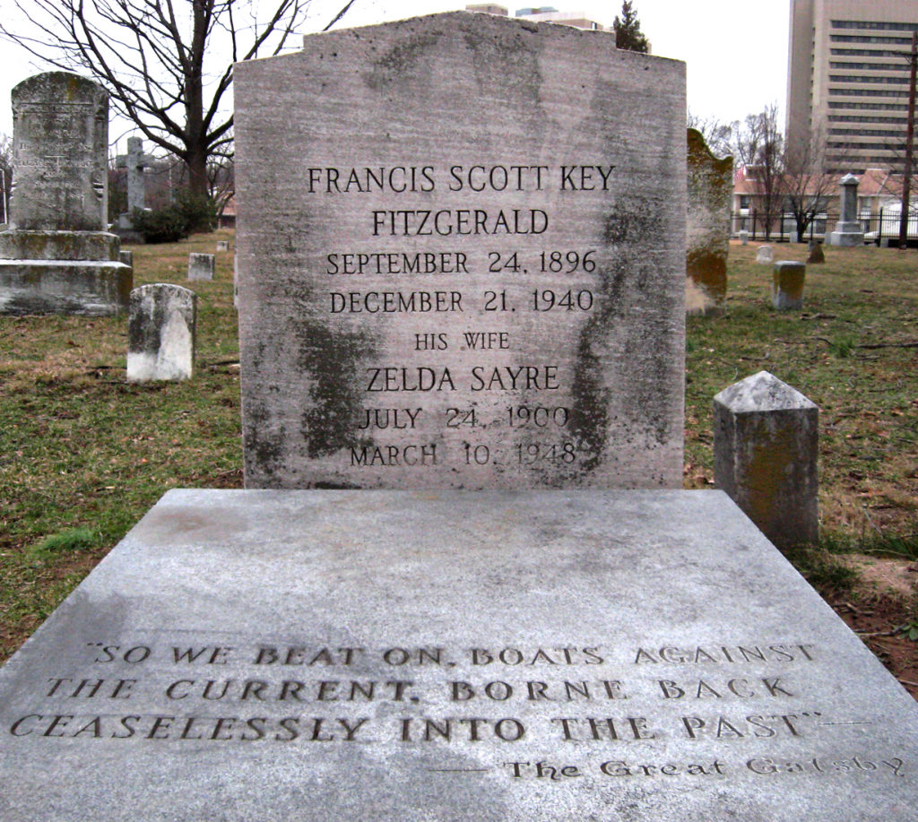 the great gatsby by f scott fitzgerald daisy is an empty the grave of f scott fitzgerald and zelda fitzgerald in st mary s catholic cemetery