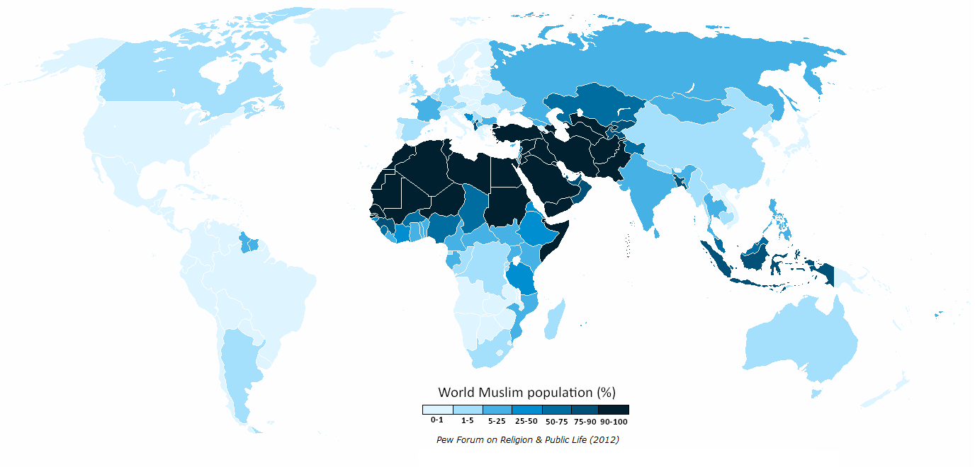 Islam the true religion writework english the muslim population of the world map by percentage of each country according gumiabroncs Choice Image