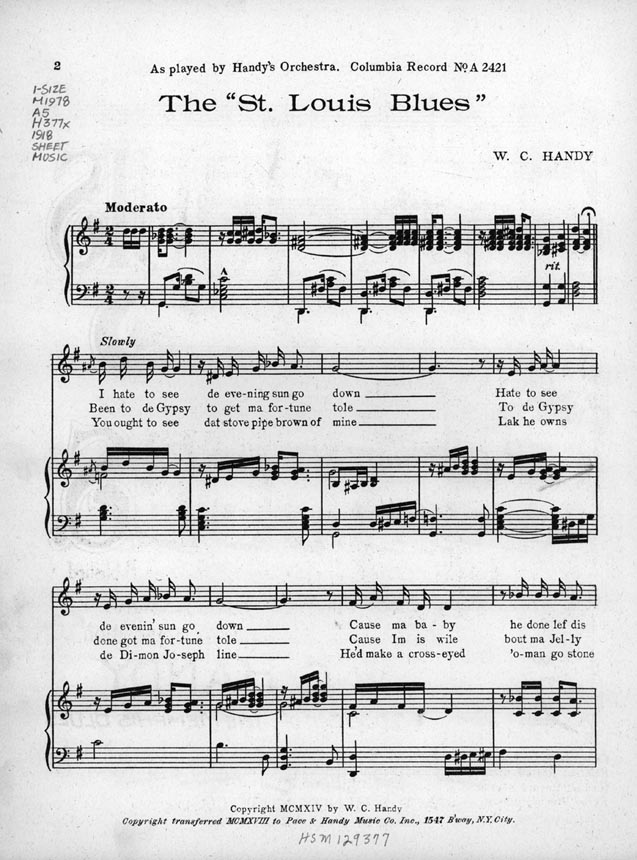 First Page Of Wc Handy's: African American Gospel Sheet Music At Alzheimers-prions.com
