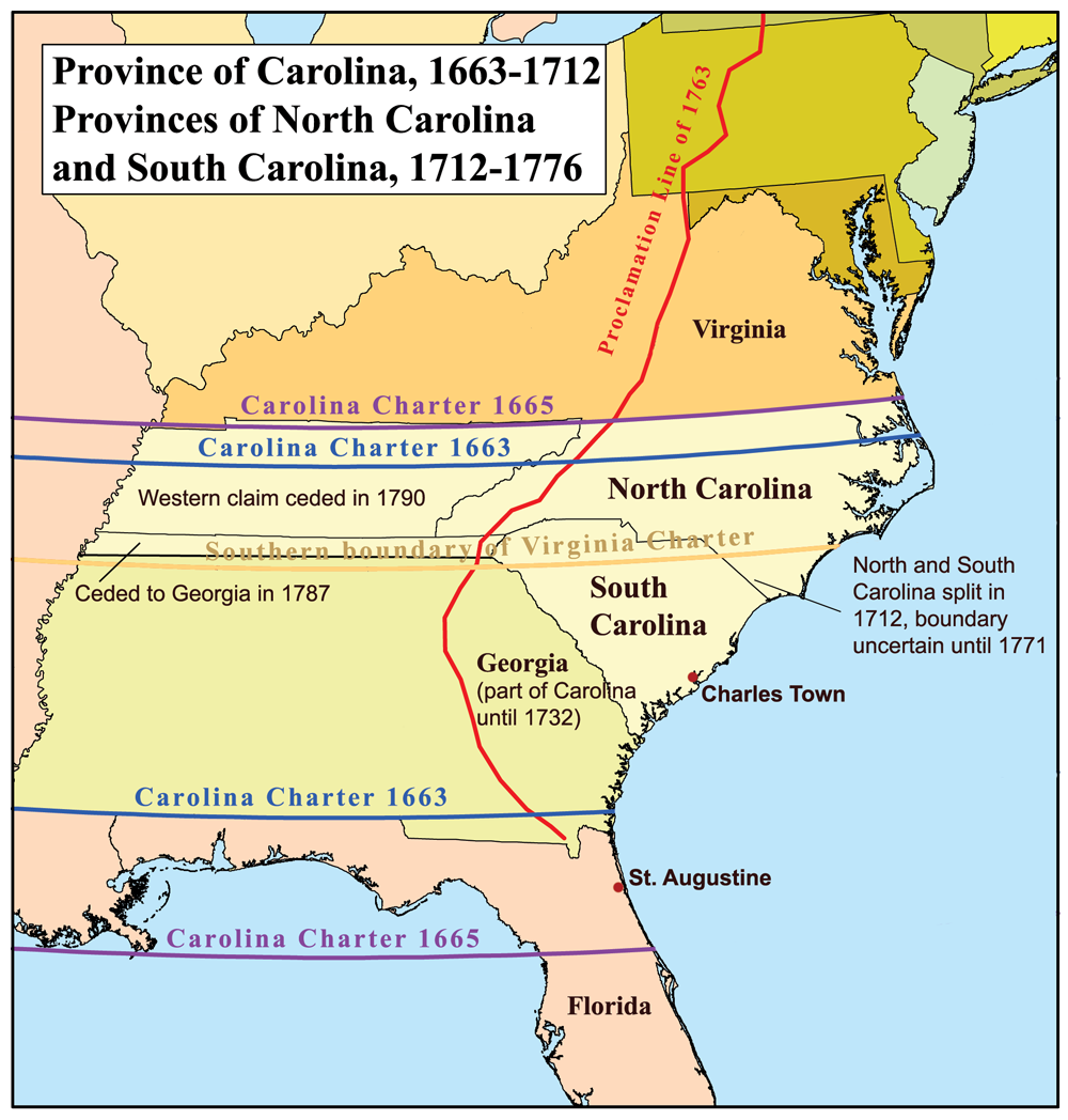 compare and contrast the differences between the northern and a map of the southern british american colonies featuring the provinces of carolina