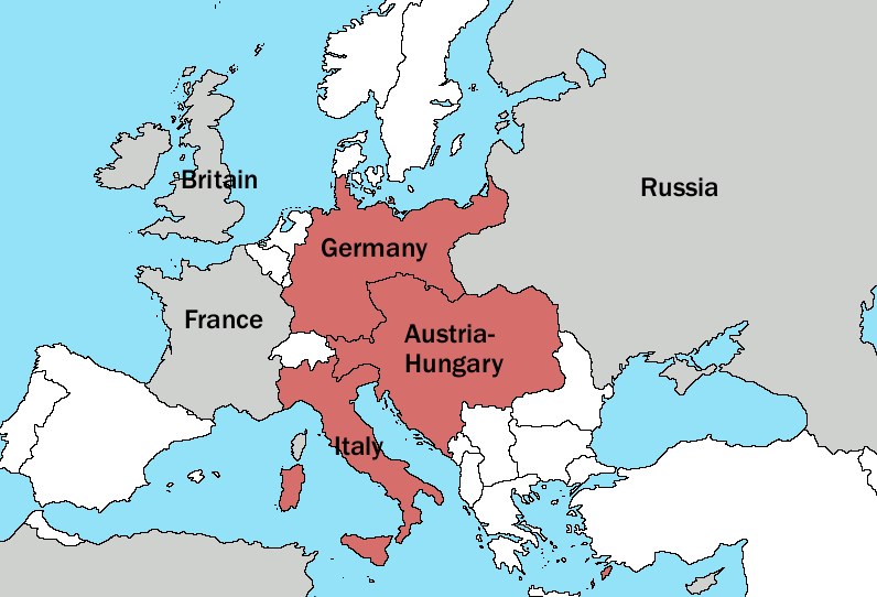 World war i the war to end all wars writework english a simple map showing the triple alliance of germany austria and italy in gumiabroncs Gallery