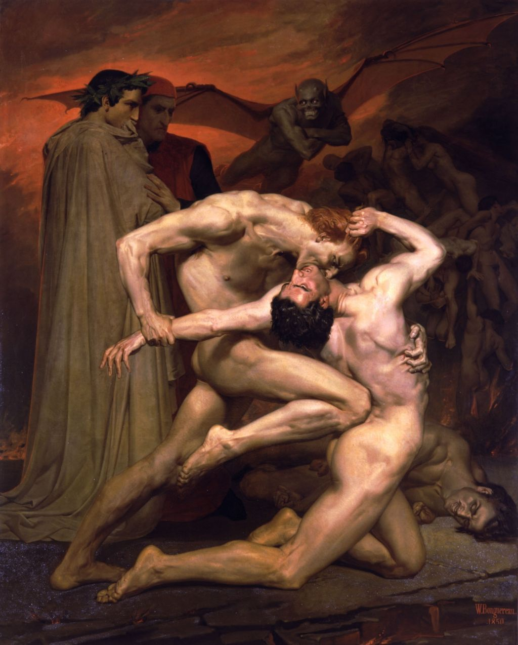 symbolic structure and content in dante s inferno writework dante and virgil in hell by william adolphe bouguereau 1850