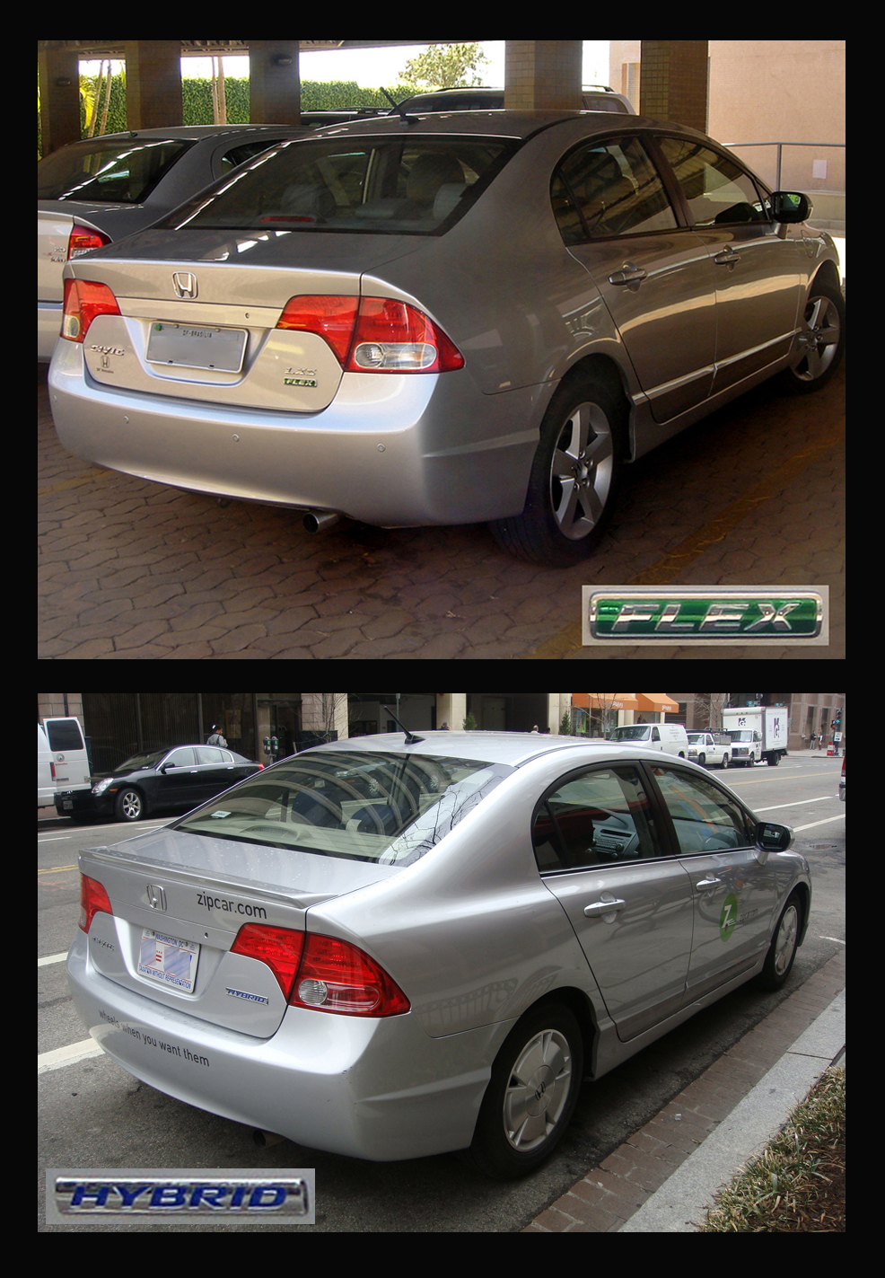 English Two Clean Vehicle Versions Of The Honda Civic On Top A Brazilian Flexible